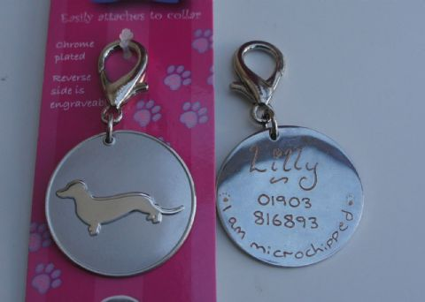 DACHSHUND DOG ID TAG -  ENGRAVED FREE